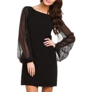 Elie Tahari Pency dress with sheer sleeves.